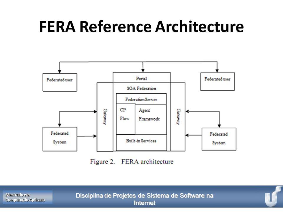 Disciplina de Projetos de Sistema de Software na Internet Mestrado em Computação Aplicada FERA Reference Architecture