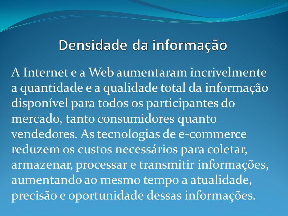 A Internet e a Web aumentaram incrivelmente a quantidade e a qualidade total da informação disponível para todos os participantes do mercado, tanto consumidores quanto vendedores.