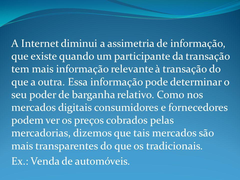 A Internet diminui a assimetria de informação, que existe quando um participante da transação tem mais informação relevante à transação do que a outra.