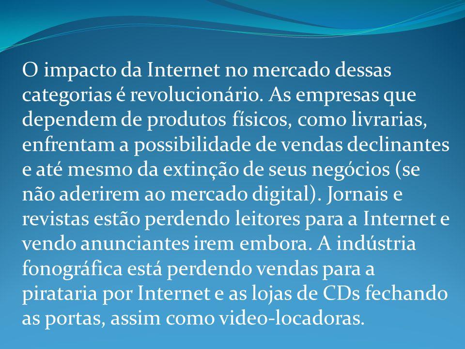 O impacto da Internet no mercado dessas categorias é revolucionário.