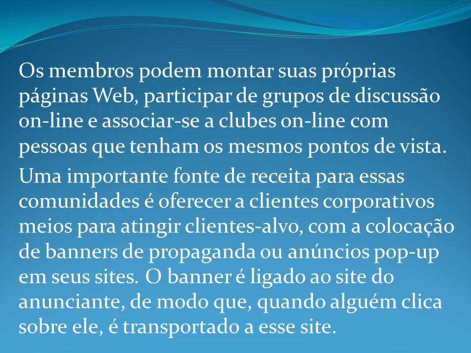 Os membros podem montar suas próprias páginas Web, participar de grupos de discussão on-line e associar-se a clubes on-line com pessoas que tenham os mesmos pontos de vista.