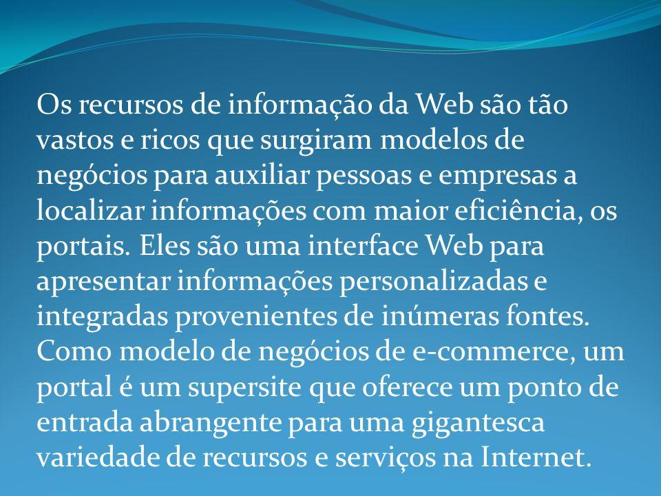 Os recursos de informação da Web são tão vastos e ricos que surgiram modelos de negócios para auxiliar pessoas e empresas a localizar informações com maior eficiência, os portais.