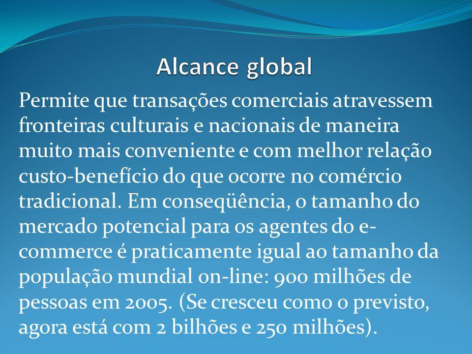 Permite que transações comerciais atravessem fronteiras culturais e nacionais de maneira muito mais conveniente e com melhor relação custo-benefício do que ocorre no comércio tradicional.