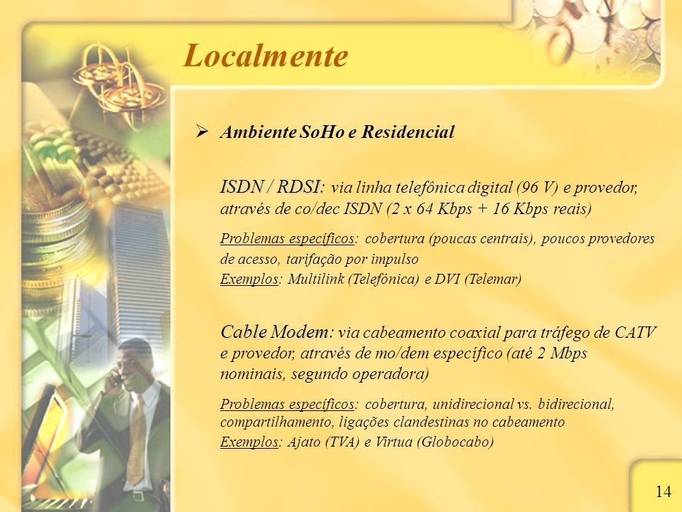 Localmente 14 Ambiente SoHo e Residencial ISDN / RDSI ISDN / RDSI: via linha telefônica digital (96 V) e provedor, através de co/dec ISDN (2 x 64 Kbps + 16 Kbps reais) Problemas específicos: cobertura (poucas centrais), poucos provedores de acesso, tarifação por impulso Exemplos: Multilink (Telefónica) e DVI (Telemar) Cable Modem Cable Modem: via cabeamento coaxial para tráfego de CATV e provedor, através de mo/dem específico (até 2 Mbps nominais, segundo operadora) Problemas específicos: cobertura, unidirecional vs.