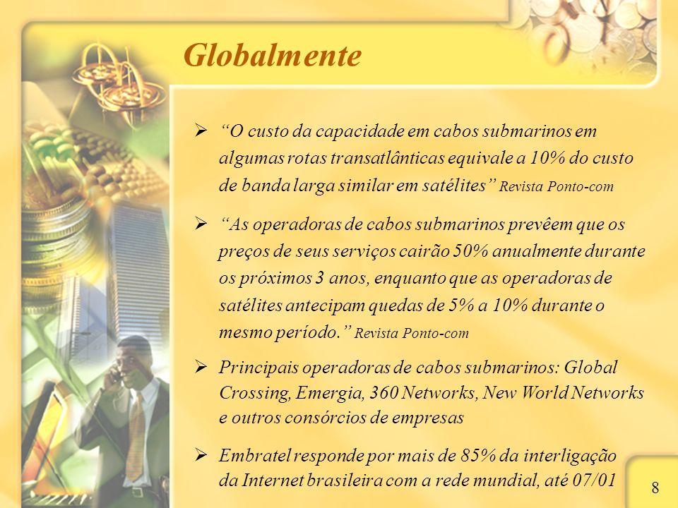 Nacionalmente 9 Satélites atendem regiões brasileiras desprovidas de fibras óticas, mas estão operando na totalidade de sua capacidade, e não é possível o lançamento de novos satélites geoestacionários Quatro grande operações de fibras óticas: Embratel (Tordesilhas e Sul), MetroRed (Sudeste e Sul), Impsat (Sudeste e Sul) e CRT (Sul), e estas estão restritas aos grandes centros urbanos Forte expansão de backbones alternativos via tecnologia sem fio (rádios direcionais e laser); redundância de tecnologias, preço e capilaridade