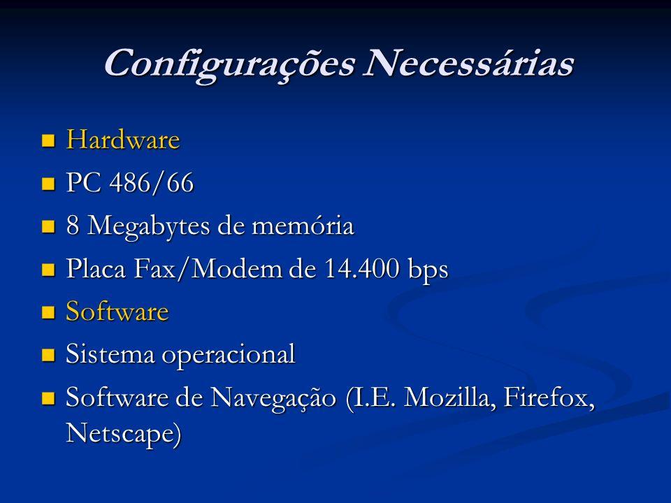 Configurações Necessárias Hardware Hardware PC 486/66 PC 486/66 8 Megabytes de memória 8 Megabytes de memória Placa Fax/Modem de 14.400 bps Placa Fax/