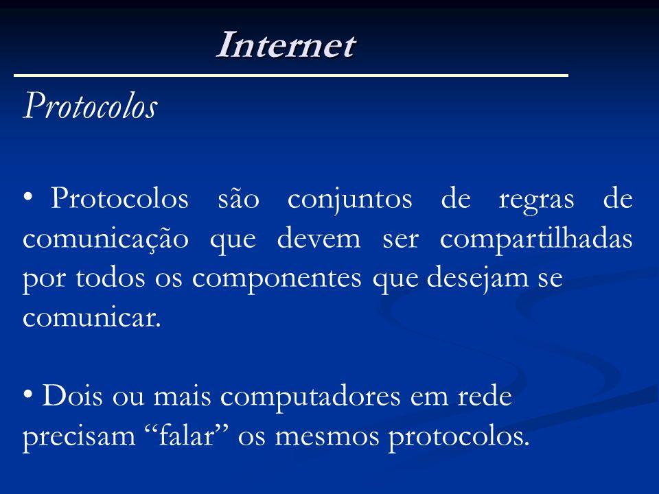 Internet Protocolos Protocolos são conjuntos de regras de comunicação que devem ser compartilhadas por todos os componentes que desejam se comunicar.