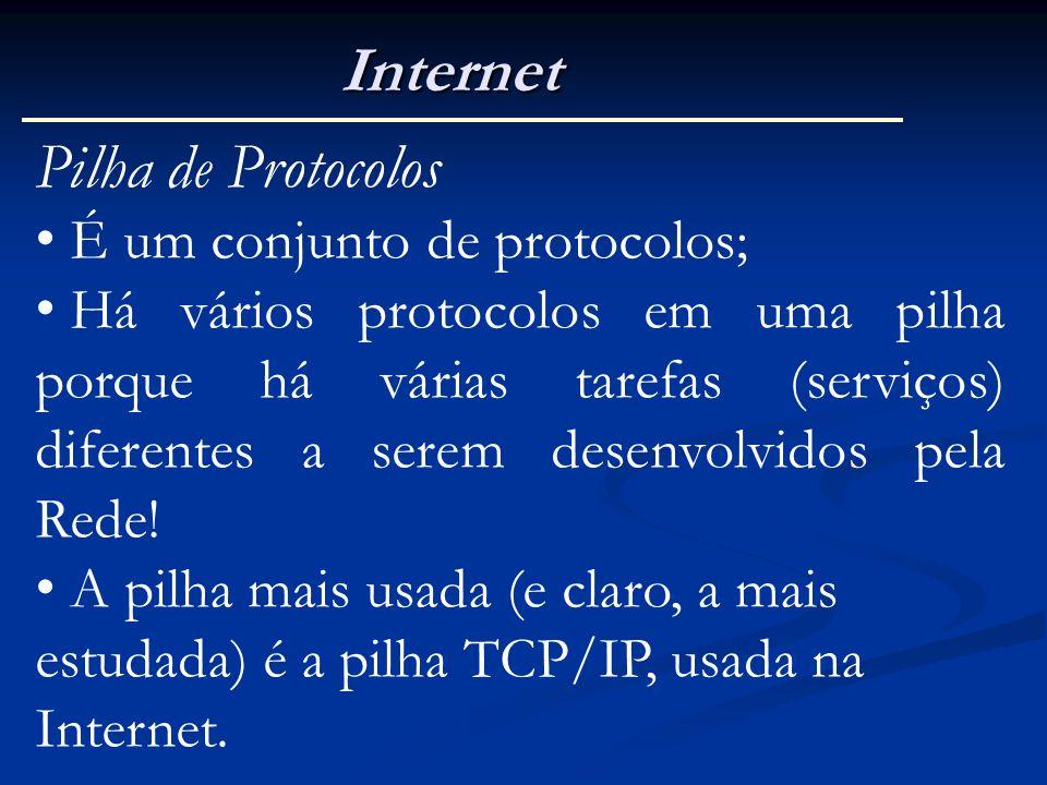 Internet Pilha de Protocolos É um conjunto de protocolos; Há vários protocolos em uma pilha porque há várias tarefas (serviços) diferentes a serem des