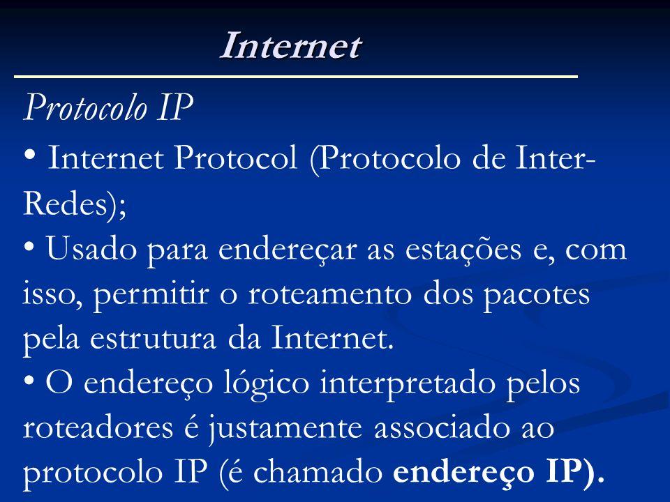 Internet Protocolo IP Internet Protocol (Protocolo de Inter- Redes); Usado para endereçar as estações e, com isso, permitir o roteamento dos pacotes p