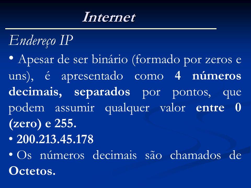Internet Endereço IP Apesar de ser binário (formado por zeros e uns), é apresentado como 4 números decimais, separados por pontos, que podem assumir q