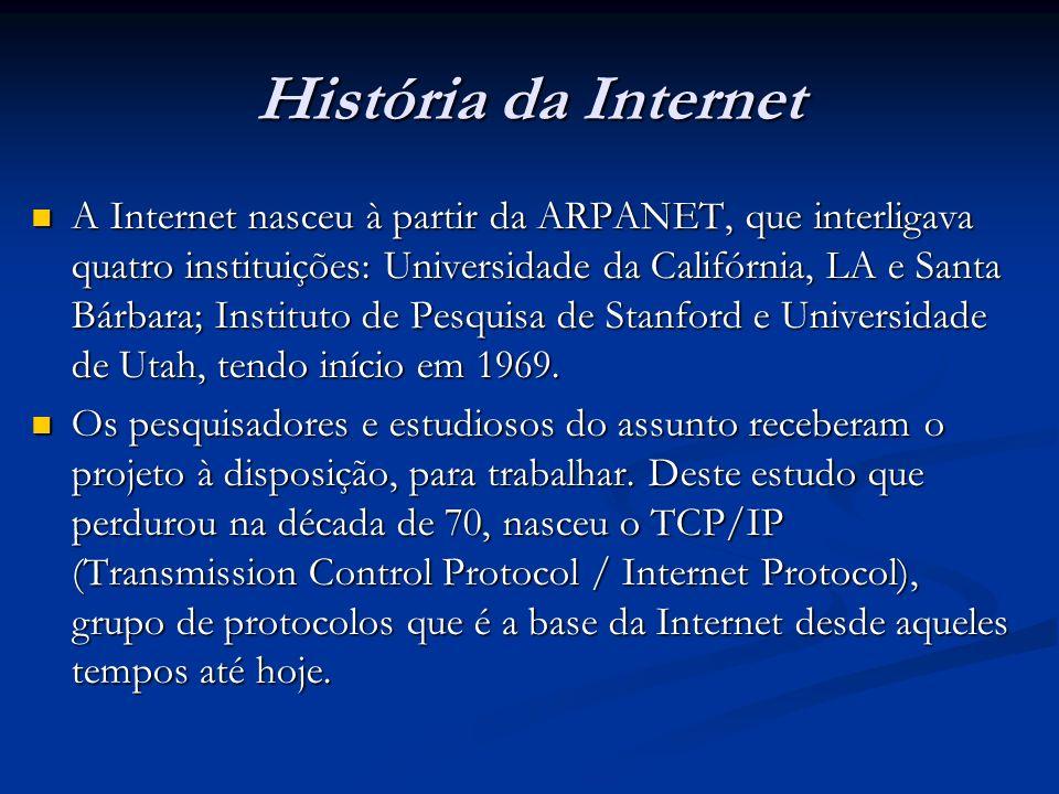História da Internet A Internet nasceu à partir da ARPANET, que interligava quatro instituições: Universidade da Califórnia, LA e Santa Bárbara; Insti