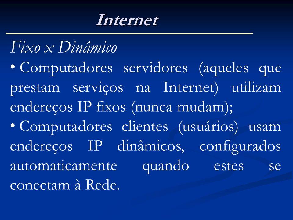 Internet Fixo x Dinâmico Computadores servidores (aqueles que prestam serviços na Internet) utilizam endereços IP fixos (nunca mudam); Computadores cl