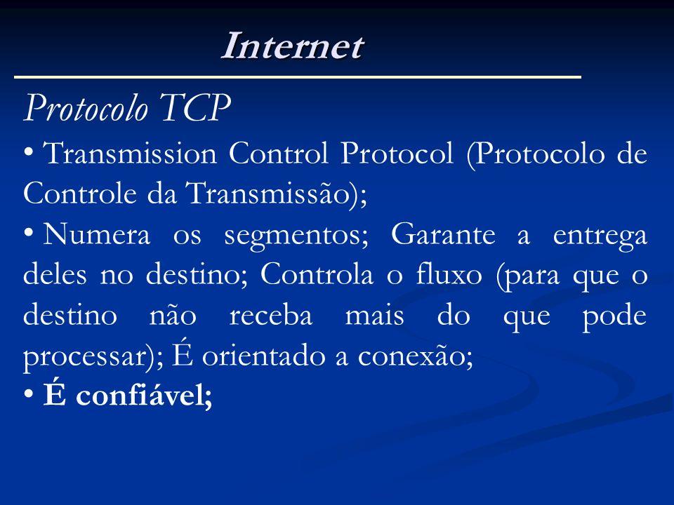 Internet Protocolo TCP Transmission Control Protocol (Protocolo de Controle da Transmissão); Numera os segmentos; Garante a entrega deles no destino;