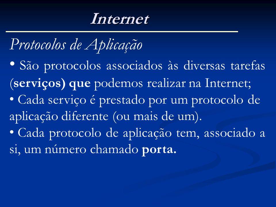 Internet Protocolos de Aplicação São protocolos associados às diversas tarefas (serviços) que podemos realizar na Internet; Cada serviço é prestado po