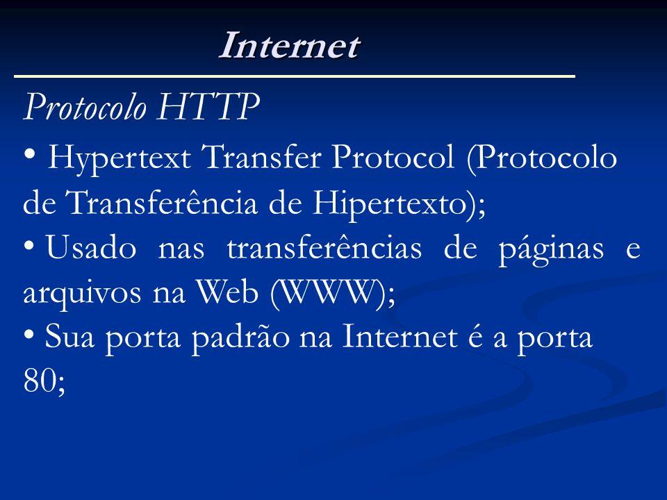 Internet Protocolo HTTP Hypertext Transfer Protocol (Protocolo de Transferência de Hipertexto); Usado nas transferências de páginas e arquivos na Web