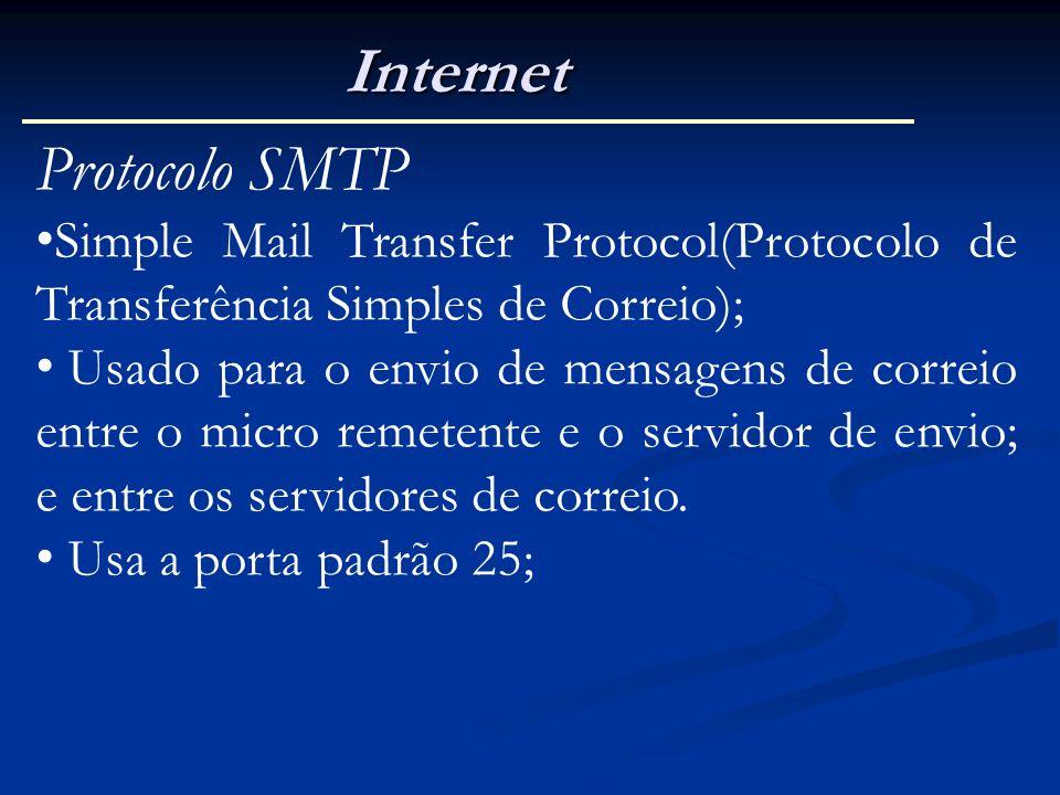 Internet Protocolo SMTP Simple Mail Transfer Protocol(Protocolo de Transferência Simples de Correio); Usado para o envio de mensagens de correio entre
