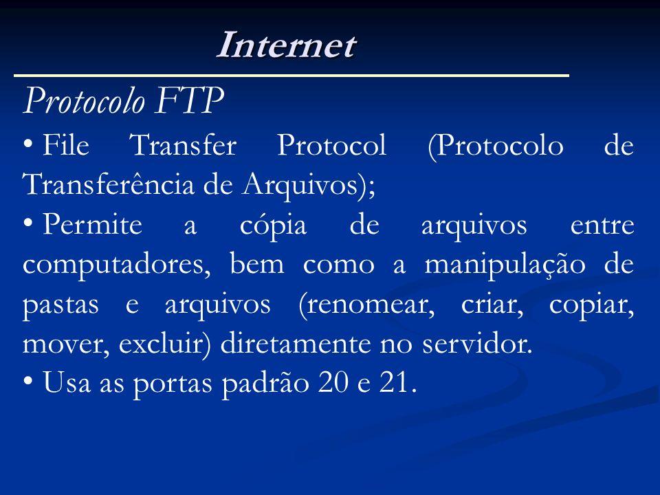 Internet Protocolo FTP File Transfer Protocol (Protocolo de Transferência de Arquivos); Permite a cópia de arquivos entre computadores, bem como a man