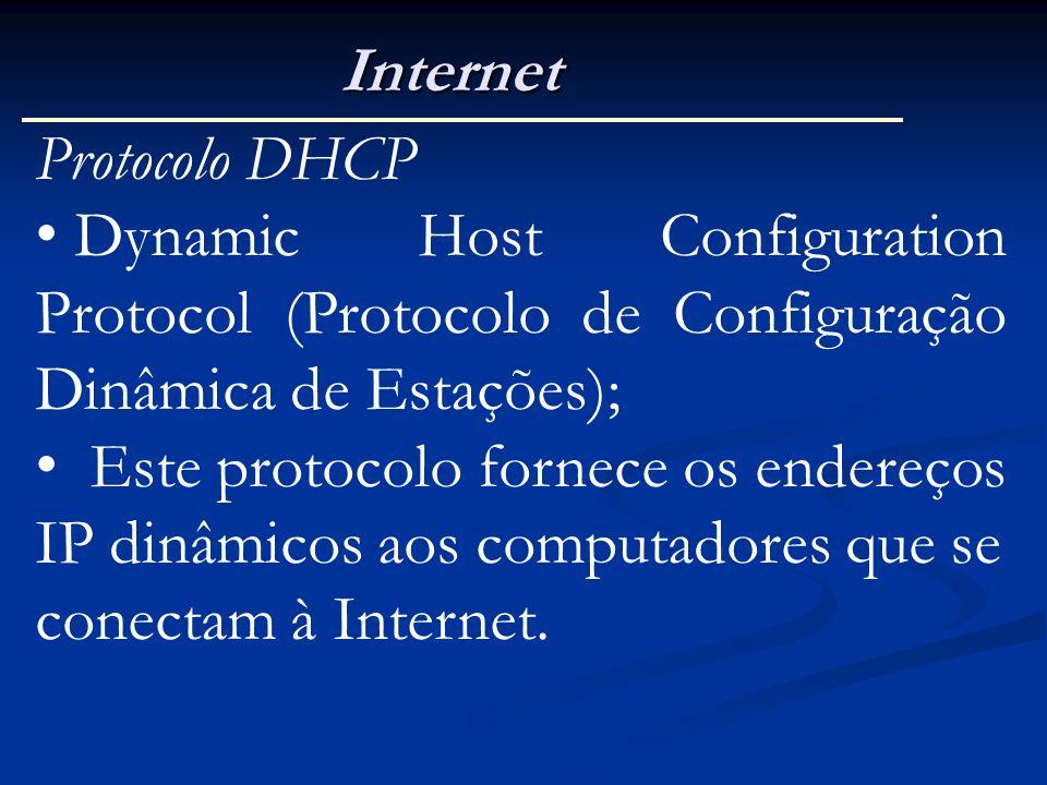 Internet Protocolo DHCP Dynamic Host Configuration Protocol (Protocolo de Configuração Dinâmica de Estações); Este protocolo fornece os endereços IP d