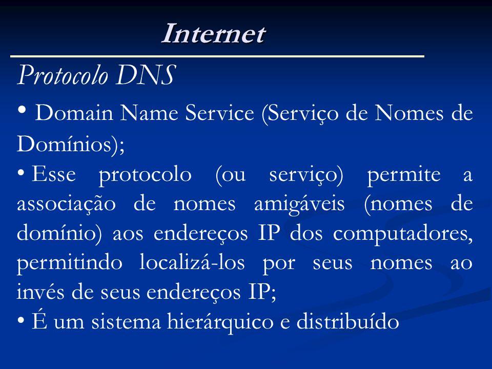 Internet Protocolo DNS Domain Name Service (Serviço de Nomes de Domínios); Esse protocolo (ou serviço) permite a associação de nomes amigáveis (nomes