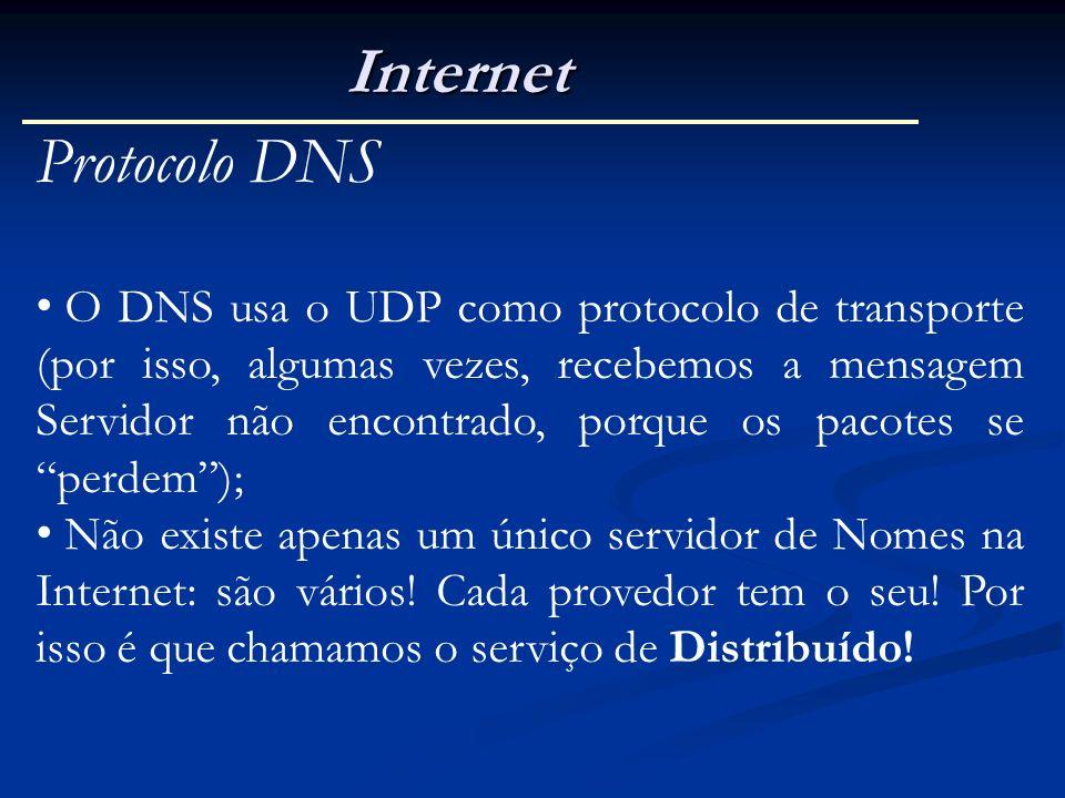 Internet Protocolo DNS O DNS usa o UDP como protocolo de transporte (por isso, algumas vezes, recebemos a mensagem Servidor não encontrado, porque os