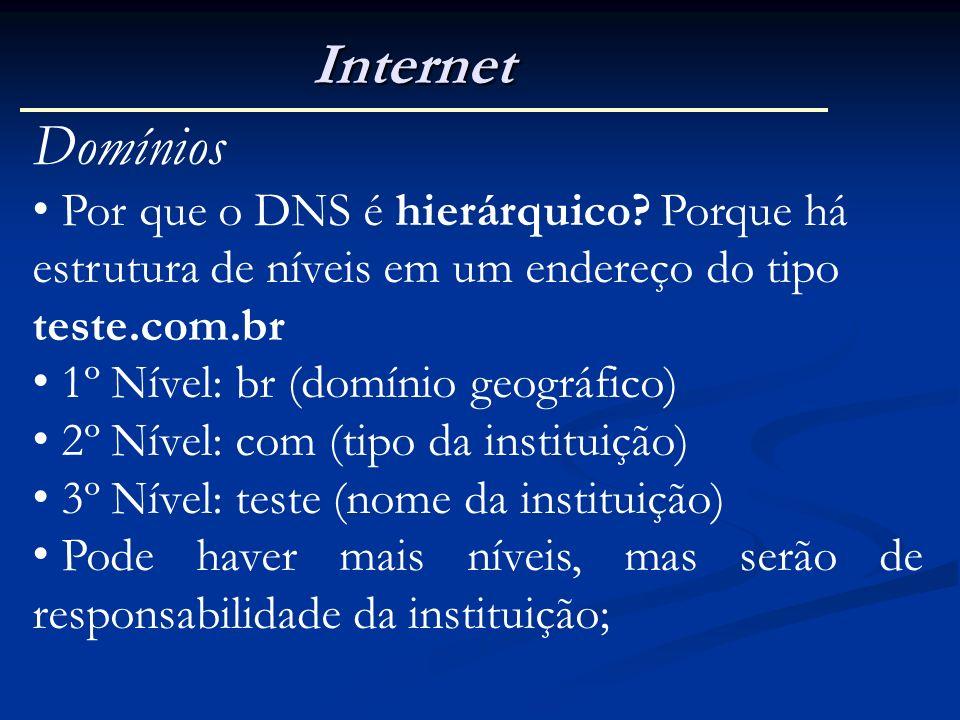 Internet Domínios Por que o DNS é hierárquico? Porque há estrutura de níveis em um endereço do tipo teste.com.br 1º Nível: br (domínio geográfico) 2º