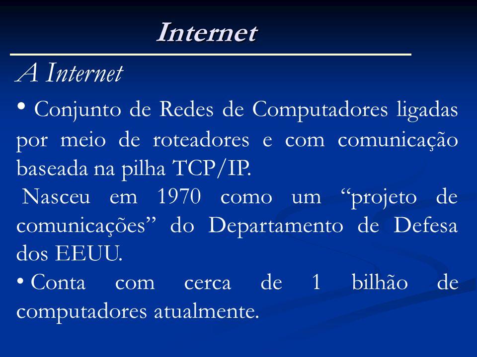 Internet A Internet Conjunto de Redes de Computadores ligadas por meio de roteadores e com comunicação baseada na pilha TCP/IP. Nasceu em 1970 como um