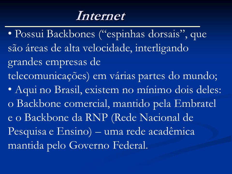 Internet Possui Backbones (espinhas dorsais, que são áreas de alta velocidade, interligando grandes empresas de telecomunicações) em várias partes do