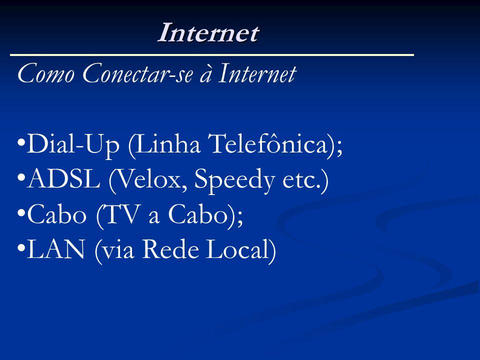 Internet Como Conectar-se à Internet Dial-Up (Linha Telefônica); ADSL (Velox, Speedy etc.) Cabo (TV a Cabo); LAN (via Rede Local)