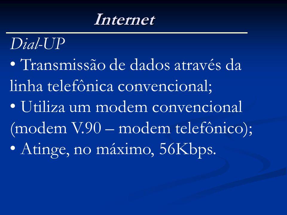 Internet Dial-UP Transmissão de dados através da linha telefônica convencional; Utiliza um modem convencional (modem V.90 – modem telefônico); Atinge,