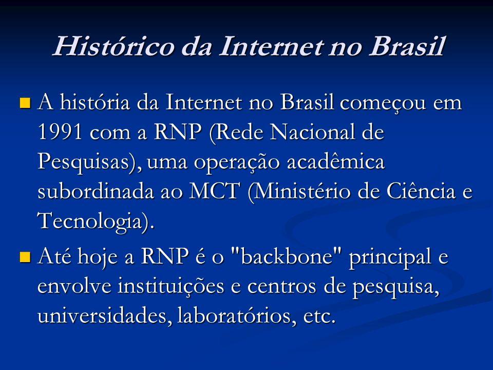 Histórico da Internet no Brasil A história da Internet no Brasil começou em 1991 com a RNP (Rede Nacional de Pesquisas), uma operação acadêmica subord