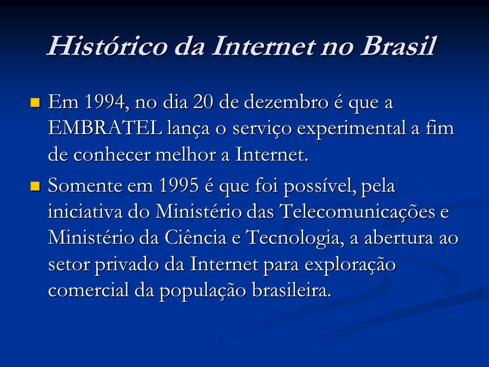 Histórico da Internet no Brasil Em 1994, no dia 20 de dezembro é que a EMBRATEL lança o serviço experimental a fim de conhecer melhor a Internet. Em 1