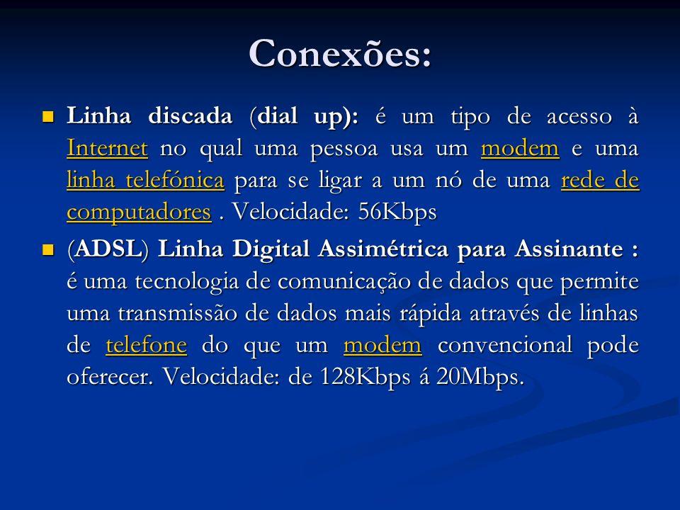 Conexões: Linha discada (dial up): é um tipo de acesso à Internet no qual uma pessoa usa um modem e uma linha telefónica para se ligar a um nó de uma