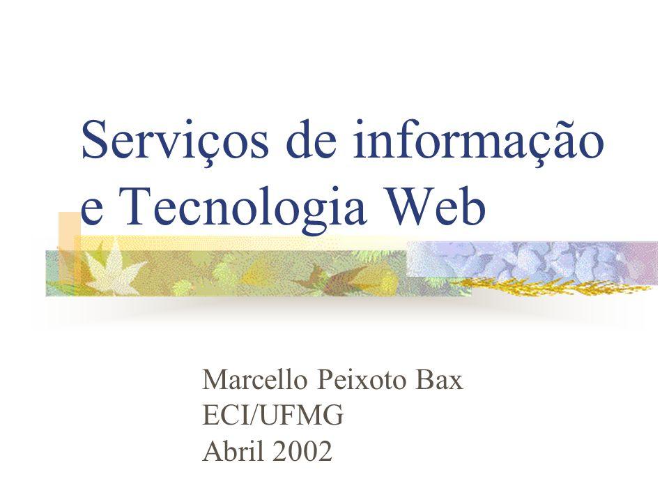 Serviços de informação e Tecnologia Web Marcello Peixoto Bax ECI/UFMG Abril 2002