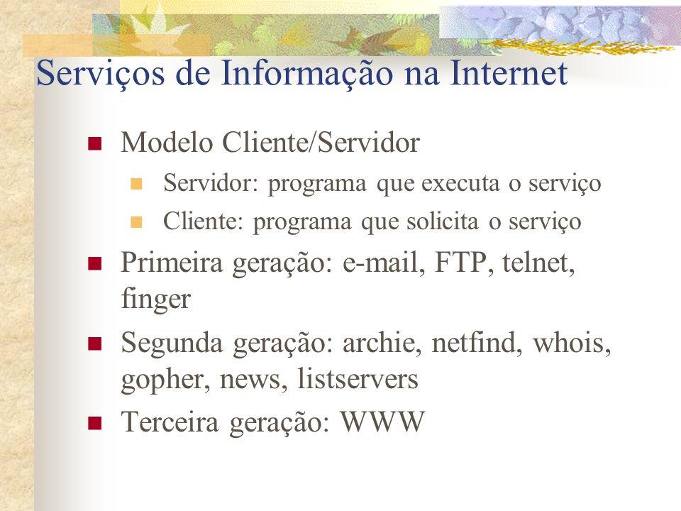 Serviços de Informação na Internet Modelo Cliente/Servidor Servidor: programa que executa o serviço Cliente: programa que solicita o serviço Primeira