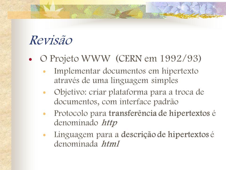 Revisão O Projeto WWW (CERN em 1992/93) Implementar documentos em hipertexto através de uma linguagem simples Objetivo: criar plataforma para a troca