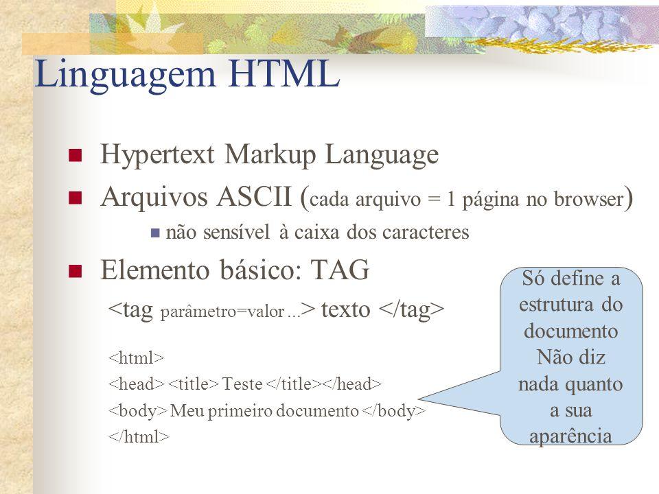 Linguagem HTML Hypertext Markup Language Arquivos ASCII ( cada arquivo = 1 página no browser ) não sensível à caixa dos caracteres Elemento básico: TA