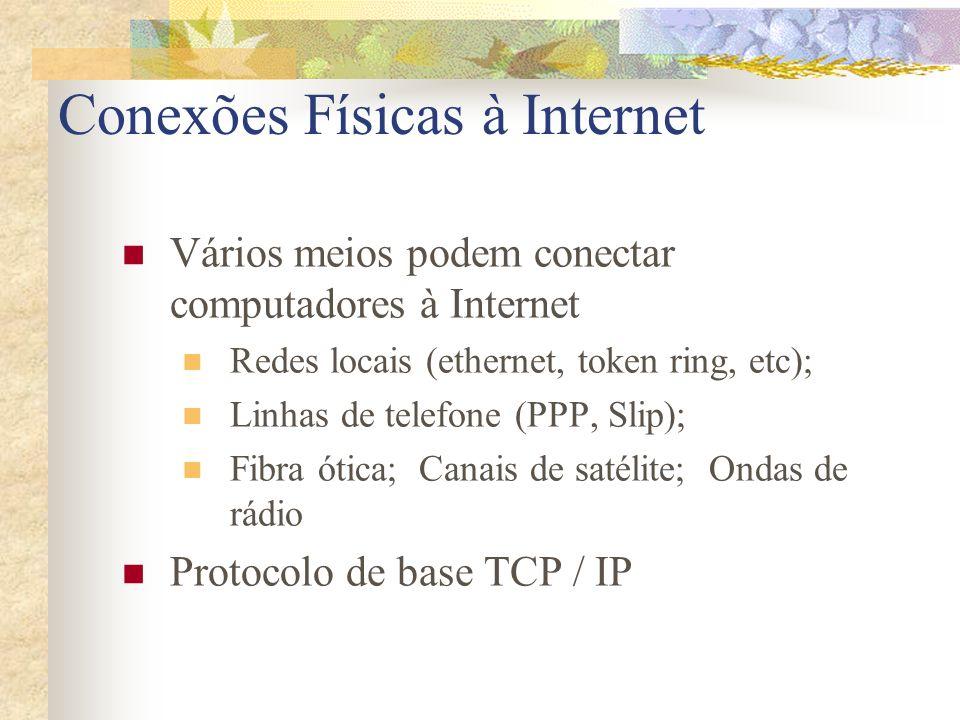 Conexões Físicas à Internet Vários meios podem conectar computadores à Internet Redes locais (ethernet, token ring, etc); Linhas de telefone (PPP, Sli