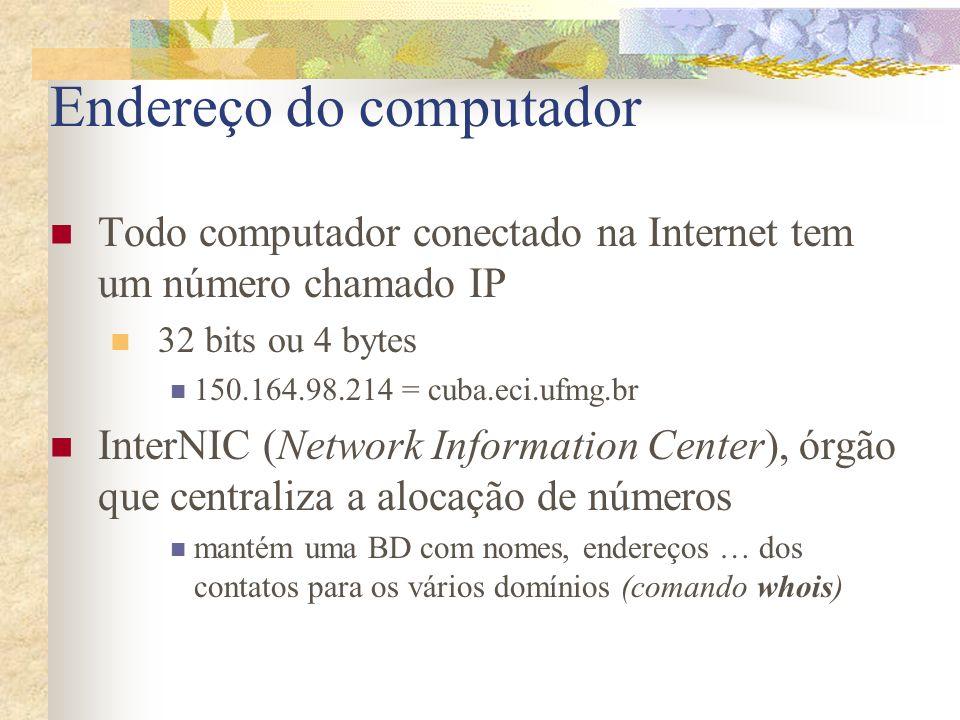 Endereço do computador Todo computador conectado na Internet tem um número chamado IP 32 bits ou 4 bytes 150.164.98.214 = cuba.eci.ufmg.br InterNIC (N