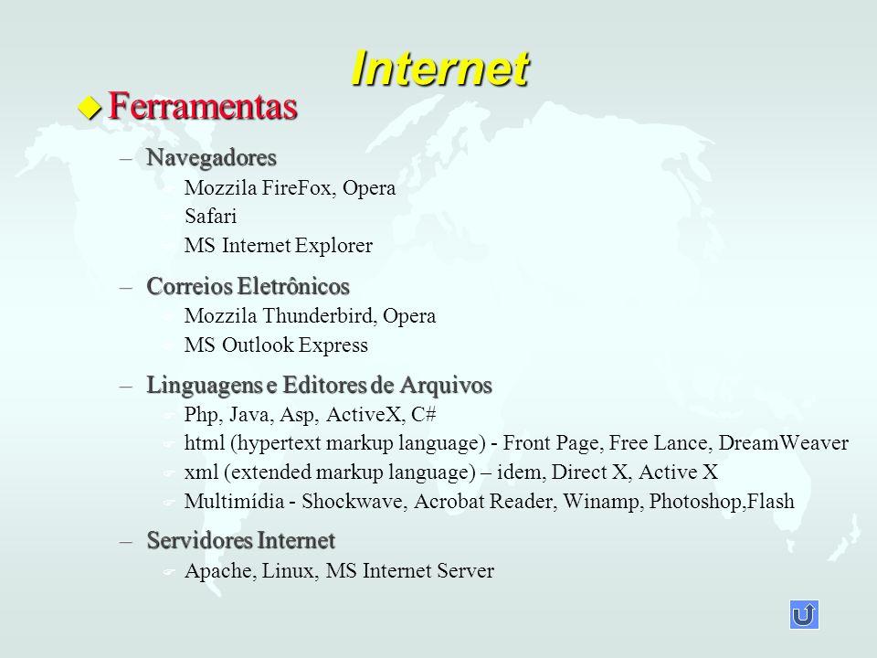 Internet u Ferramentas –Navegadores F F Mozzila FireFox, Opera F F Safari F F MS Internet Explorer –Correios Eletrônicos F F Mozzila Thunderbird, Oper