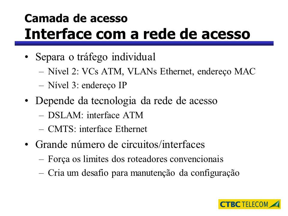 Camada de acesso Interface com a rede de acesso Separa o tráfego individual –Nível 2: VCs ATM, VLANs Ethernet, endereço MAC –Nível 3: endereço IP Depe