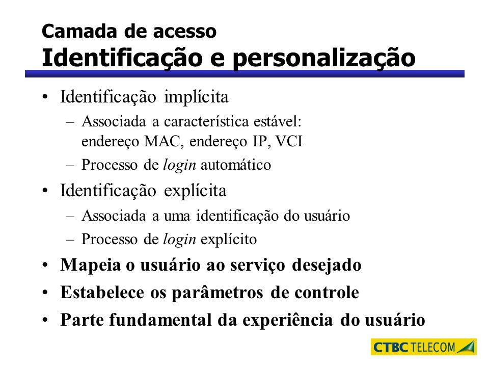 Camada de acesso Identificação e personalização Identificação implícita –Associada a característica estável: endereço MAC, endereço IP, VCI –Processo
