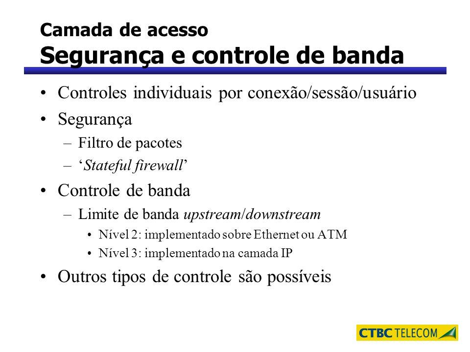 Camada de acesso Segurança e controle de banda Controles individuais por conexão/sessão/usuário Segurança –Filtro de pacotes –Stateful firewall Contro