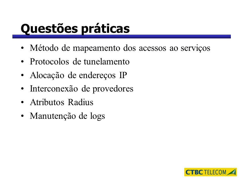 Questões práticas Método de mapeamento dos acessos ao serviços Protocolos de tunelamento Alocação de endereços IP Interconexão de provedores Atributos