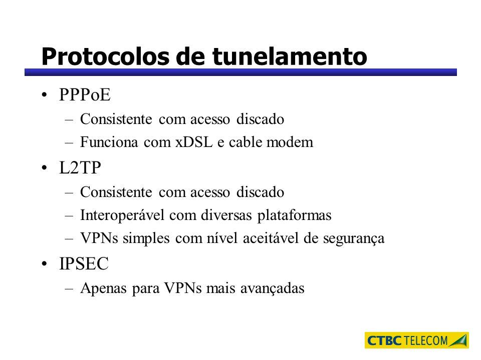 Protocolos de tunelamento PPPoE –Consistente com acesso discado –Funciona com xDSL e cable modem L2TP –Consistente com acesso discado –Interoperável c