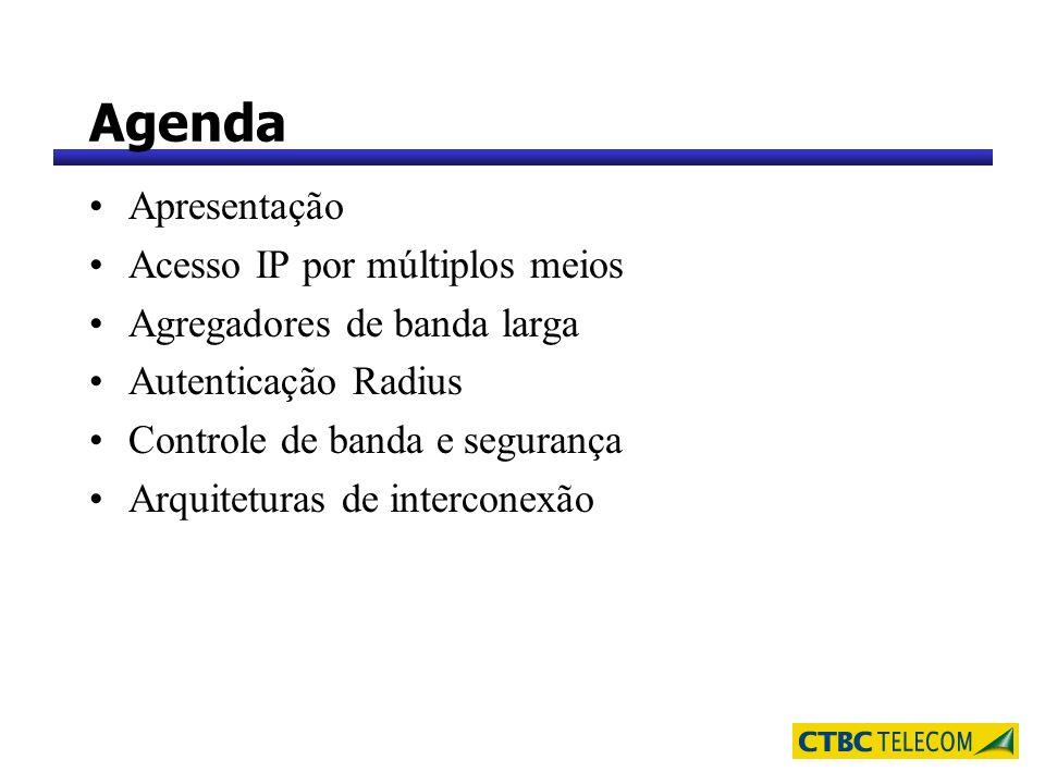 Agenda Apresentação Acesso IP por múltiplos meios Agregadores de banda larga Autenticação Radius Controle de banda e segurança Arquiteturas de interco