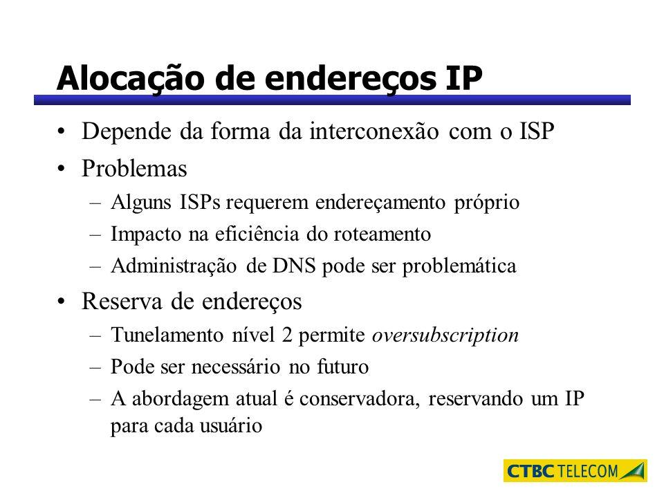Alocação de endereços IP Depende da forma da interconexão com o ISP Problemas –Alguns ISPs requerem endereçamento próprio –Impacto na eficiência do ro