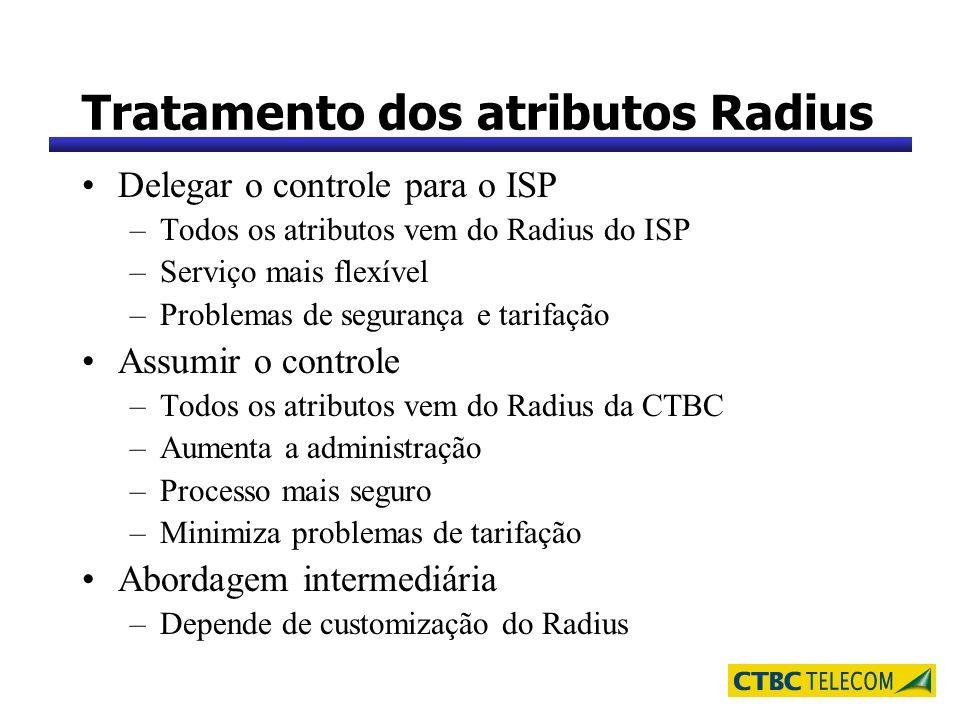 Tratamento dos atributos Radius Delegar o controle para o ISP –Todos os atributos vem do Radius do ISP –Serviço mais flexível –Problemas de segurança