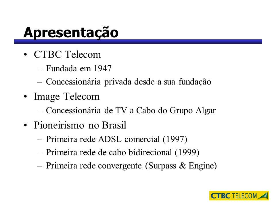 Apresentação CTBC Telecom –Fundada em 1947 –Concessionária privada desde a sua fundação Image Telecom –Concessionária de TV a Cabo do Grupo Algar Pion