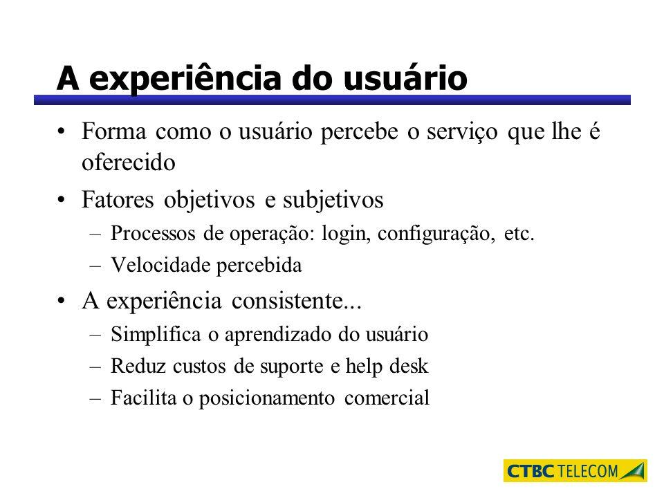 A experiência do usuário Forma como o usuário percebe o serviço que lhe é oferecido Fatores objetivos e subjetivos –Processos de operação: login, conf