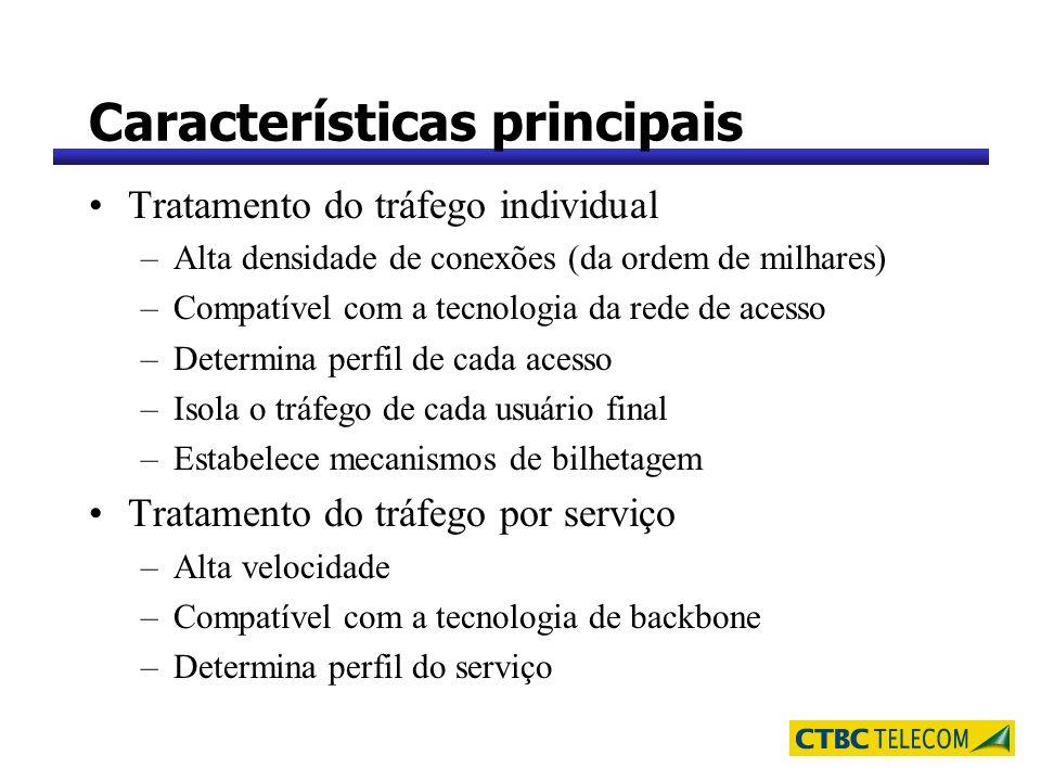 Características principais Tratamento do tráfego individual –Alta densidade de conexões (da ordem de milhares) –Compatível com a tecnologia da rede de